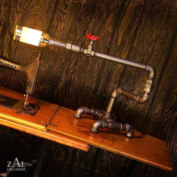 Desk Lamp Beer bottle Plumbing pipe and fittings by ZALcreations