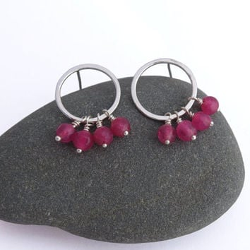 Sterling Silver Hoops - Pink Agate Dangle Earrings - Circle Post Gemstone Earrings