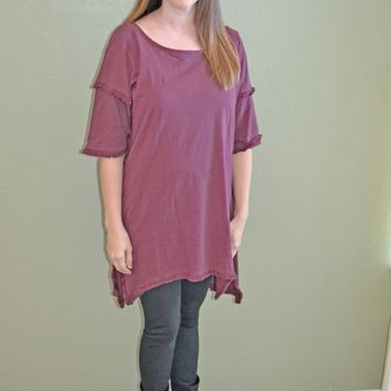 Cool Factor Fringe Hem Top: Burgundy