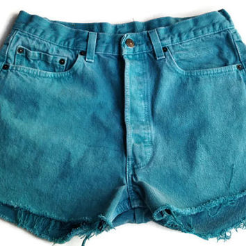Teal High Waisted Levi Shorts Size 11/12 Vintage Denim Jean Shorts