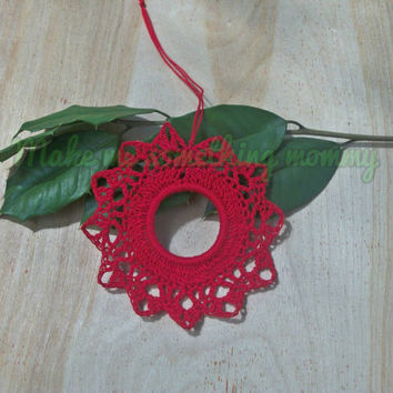 Crochet Christmas ornament. Red cotton Christmas wreath ornament. 25% off Christmas in July sale.