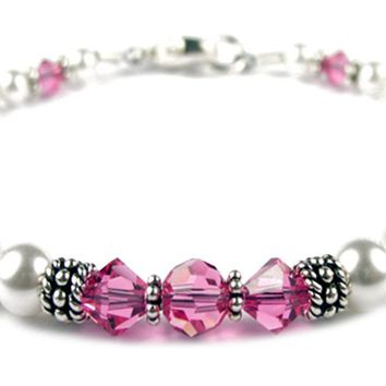 Pink Tourmaline October Birthstone Bracelet, Genuine Freshwater Pearl Swarovski Crystal Beaded Bracelet