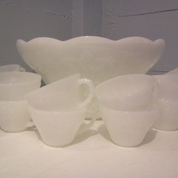 Vintage, White, Milk Glass Punch Bowl and Cup Set. Anchor Hocking, Grape Pattern