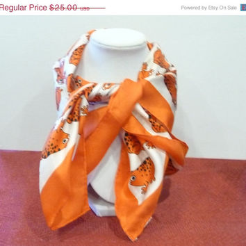 Echo Orange Frog Scarf - 1960's 100% Silk Square Design - Designer Signed Fashions - Vintage Scarves