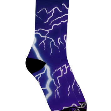 Lightning All Over Adult Crew Socks All Over Print