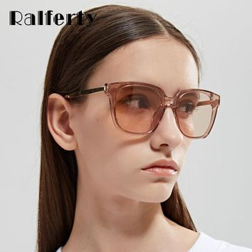 Ralferty Transparent Square Sunglasses Women Clear Pink Sun Glasses Female Clear Eyewear Trendy Sunglass UV400 Shades X1309