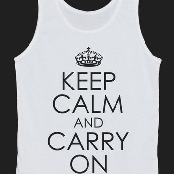 Keep Calm And Carry On Tank Top Women Tops White Tee Shirt Text Tank Tops Size XS, S, M, L