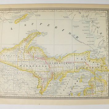 Antique Upper Peninsula MI Map 1881 Rand McNally Map, UP Michigan Map Lake Superior, Wedding Gift for Couple, Man Cave UP Art Gift for Guy