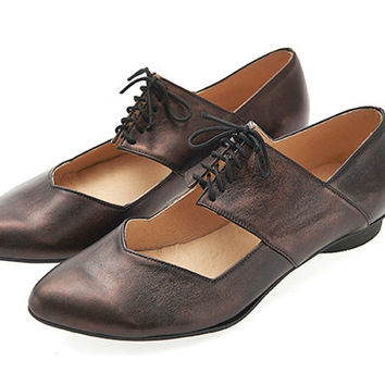Bronze shoes, Vicky, handmade, ballerina shoes, flats, leather shoes, by Tamar Shalem on etsy