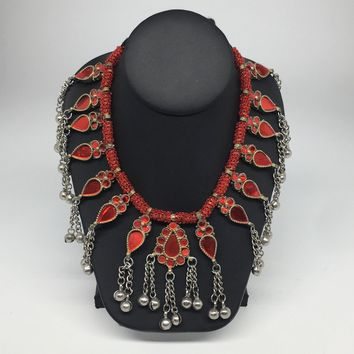 Big Kuchi Tribal Necklace Afghan Ethnic Red Color Glass Jingle bell Necklace NK30