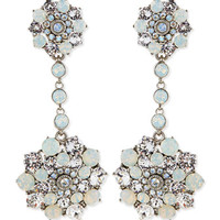 Oscar de la Renta Crystal Drop Clip-On Earrings