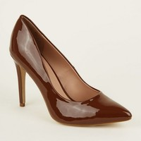 Mid Brown Patent Stiletto Heel Pointed Courts   New Look