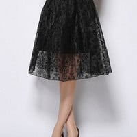 Black Jacquard Floral Skirt