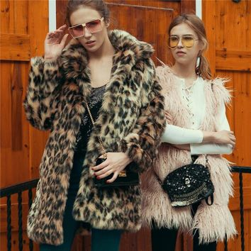 Lanshifei New Design High Quality Chinese Manufacture Office Parka Ladies Warm Jackets Leopard Print Fur Coats for Women