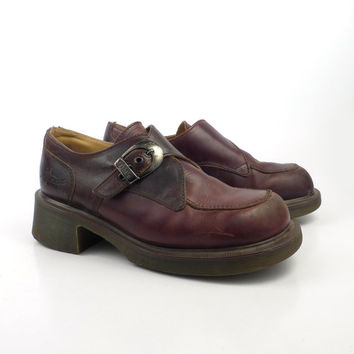 Dr Martens Shoes Mary Janes 1990 Doc strap Brown Leather Made in England UK size 6 US size 8
