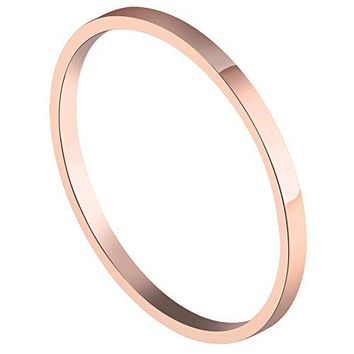 PAURO Womens Stainless Steel Rose Gold Plated Knuckle Midi Ring Set Stackable 15MM Plain Band