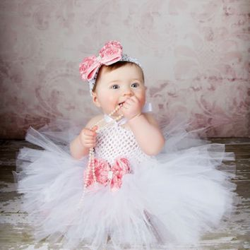 White Tutu Dress for Children with Peach Bow and Matching Hair Band