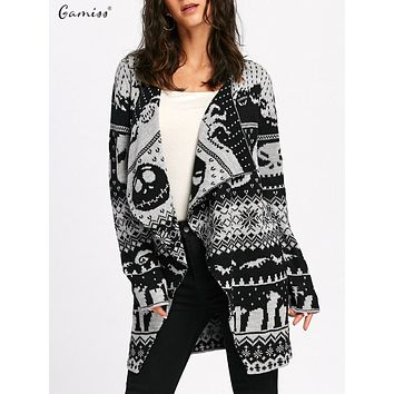 Skull Knitting Tunic Cardigans Women Long Sweaters Open Stitch Knitted Outwear Female Cardigan