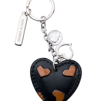 Heart Hand Painted Leather Keychain-Tan Hearts