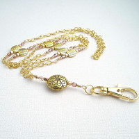 Deluxe Gold Plated Chain ID Badge Lanyard with Neutral Crystal Rondells and Gold Plated Rounded Square Beads