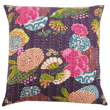 24x24 Purple Handmade Kantha Pillow, Kantha Decorative throw Pillow, kantha cushion cover, Floral Pillow Cushion, Indian Cotton sofa Pillow