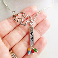 Puzzle Piece & Hope Symbol Lariat Necklace Autism Awareness Not For Profit