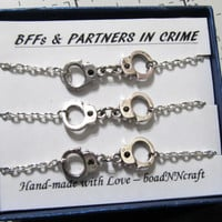 NF/LF Partners in Crime handcuff  bracelets, silver tone friendship bracelets, long distance Friendship quote gift