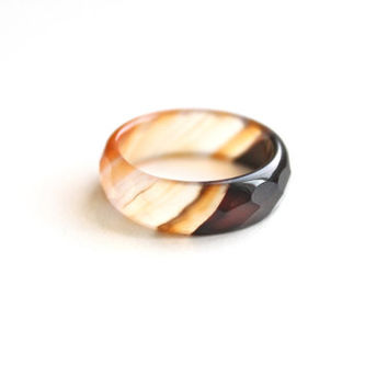 Natural White Orange Black Agate Band Ring 5mm. Stackable Gemstone Ring. Faceted Agate Ring. Natural Healing Agate Ring.