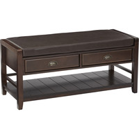 Stafford Entry Bench with Seat & Espresso Wood Finish, Espresso Bonded Leather