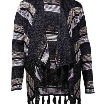 Style & Co. Women's Stripe Fringe Trim Cardigan Sweater