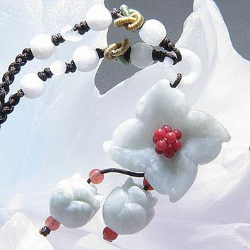 Good Luck Flower And Bells Unique Jade Necklace