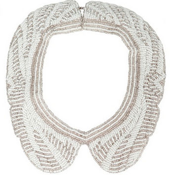 Pearl And Silver Beaded Bib Necklace (Zara)