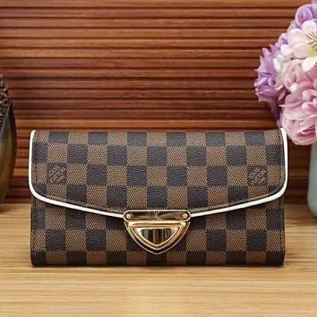 LV Louis Vuitton Fashion New Monogram Cream Check Brown Black Check Leather Women Wallet Purse Handbag
