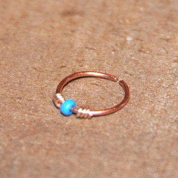 Small Nose Ring, Blue Beaded Nose Ring, Nose Hoop, Hoop Earring, Cartilage Hoop, Endless Hoop, Seamless Hoop, Piercing Jewelry, Septum Hoop