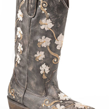 Roper Ladies Fashion Snip Toe Boots 12 Sanded Leather W Floral Embroidery