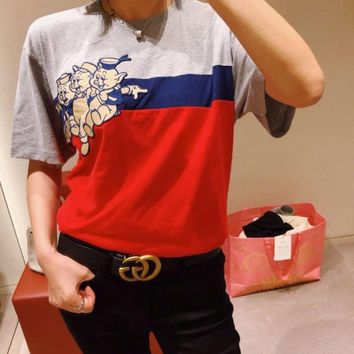 GUCCI Newest Popular Women Men Casual Cute Pig Print Round Collar T-Shirt Top