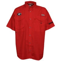 Georgia Bulldogs Columbia PFG Bonehead Short Sleeve Shirt – Red