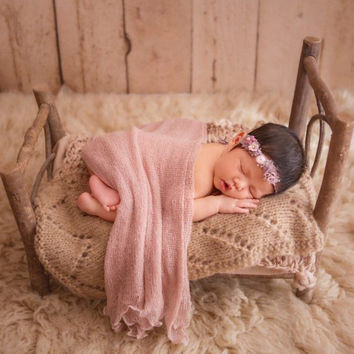 Rustic Wooden Baby Crib Photography Props