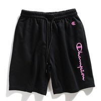 Champion new casual pants shorts men's and women's herringbone embroidered breeches