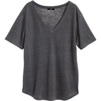 Linen T-shirt - from H&M