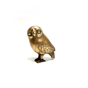 Brass Owl Small Vintage 1970s India Home Decor Owl Figurine