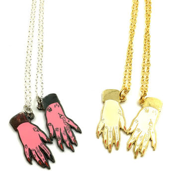 Best Friends Tattood Hands Necklace Set