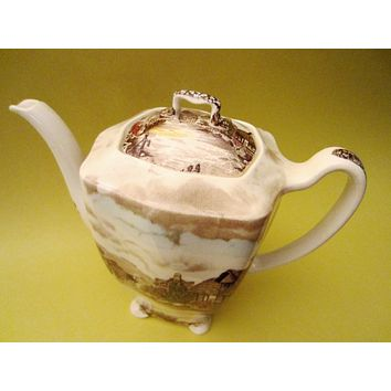 Johnson Bros Olde English Countryside Hand Engraving Teapot All Marked