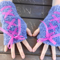 Valentine's Day, Grey Gloves, Grey Knitted Gloves, Fingerless Gloves, Hand Warmer, bow gloves, handmade Gloves, Knitted Gloves, Gift Ideas