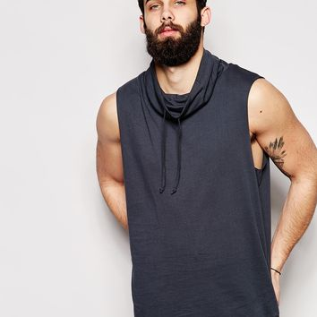ASOS Longline Sleeveless T-Shirt With Funnel Neck