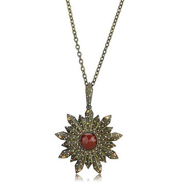 Game of Thrones Style Antique Brass & Copper Onyx Star Necklace