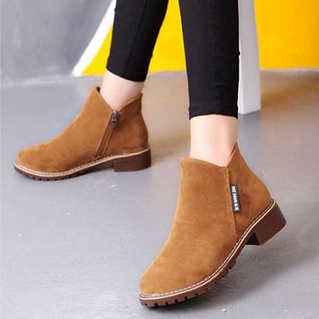 2017 Spring/Autumn Ankle Boots For Women Low Heel Nubuck Leather Women's Fashion Short Martin Shoes