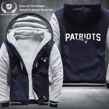 Dropshipping USA Size Unisex New England Patriots Winter Thicken Fleece Hoodie Zipper Sweatshirt Jacket Costume Tracksuit made