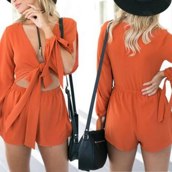 Orange Boho Cut-Out Romper