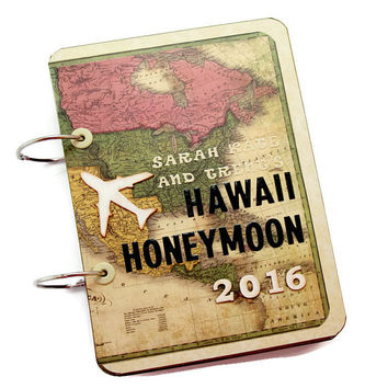 Hawaii Honeymoon Journal, Personalized Travel Photobook, Custom Travel Journal, Honeymoon Photo Book, Travel Journal Scrapbook, Wedding Gift